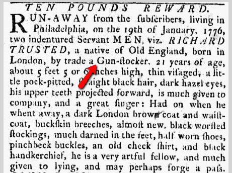 Ten Pounds Reward, Pennsylvania Ledger newspaper article 9 March 1776