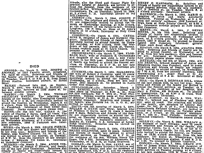 death notices, Philadelphia Inquirer newspaper article 8 March 1904