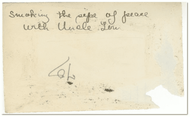 back of photo of Scott Phillips's father and uncle, showing inscription