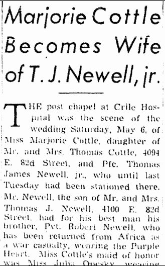 Marjorie Cottle Becomes Wife of T. J. Newell, jr., Plain Dealer newspaper article 14 May 1944