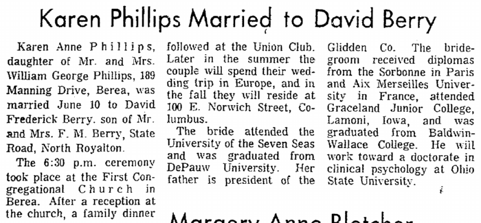 Karen Phillips Married to David Berry, Plain Dealer newspaper article 18 June 1967