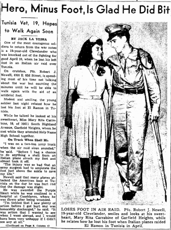 Hero, Minus Foot, Is Glad He Did Bit, Plain Dealer newspaper article 28 July 1943