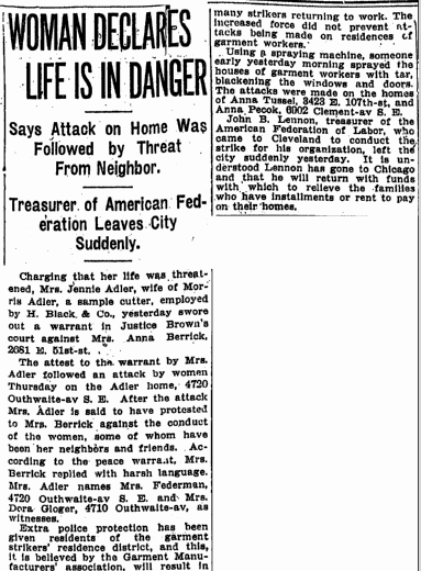 Woman Declares Life Is in Danger, Plain Dealer newspaper article 30 September 1911