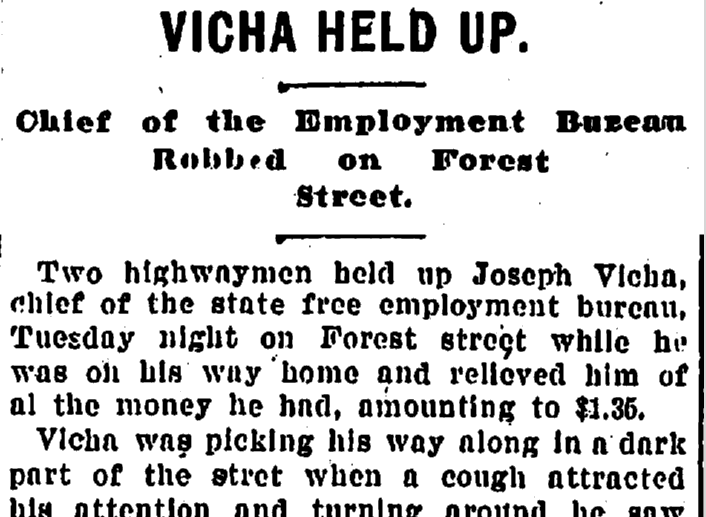 Vicha Held Up, Plain Dealer newspaper article, 24 November 1898