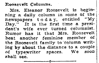 Roosevelt Columns, Plain Dealer newspaper article 30 December 1935