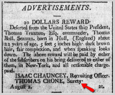 20 Dollars Reward, Prisoner of Hope newspaper article 2 August 1800