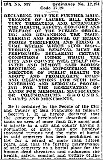 legal notice about the Laurel Hill Cemetery in San Francisco being closed, San Francisco Chronicle newspaper article 25 March 1937