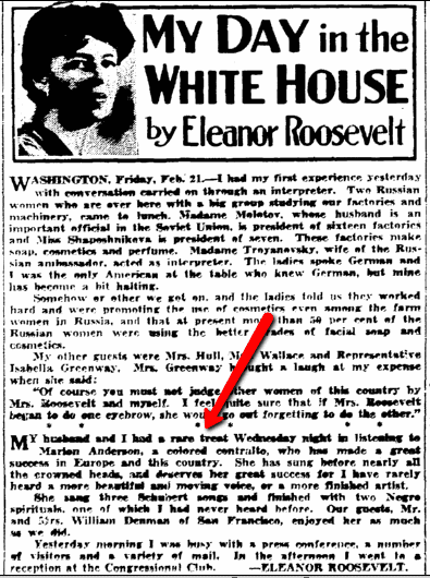 My Day in the White House by Eleanor Roosevelt, Seattle Daily Times newspaper article 21 February 1936