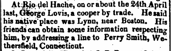 George Lovis obituary, Statesman newspaper article 31 May 1825