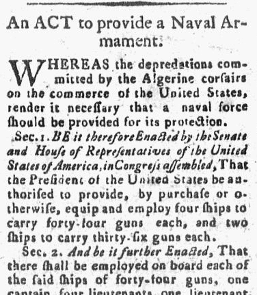 An Act to Provide a Naval Armament, United States Chronicle newspaper article 1 May 1794