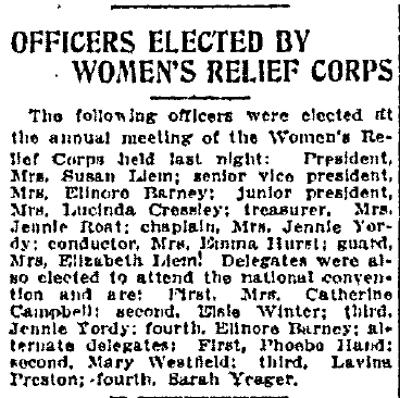 Officers Elected by Women's Relief Corrps, Wilkes-Barre Times-Leader newspaper article 3 December 1912
