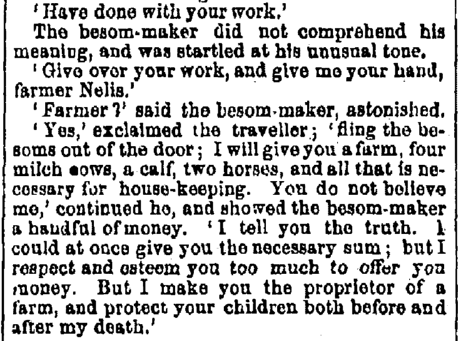 story about a besom maker (broom maker), Albany Evening Journal newspaper article 14 August 1852