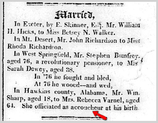wedding announcement for William Sharp and Rebecca Varnel, Bangor Weekly Register newspaper article 7 December 1826