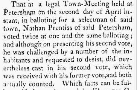 Nathan Prentiss voting challenge, Berkshire Reporter newspaper article 9 May 1810