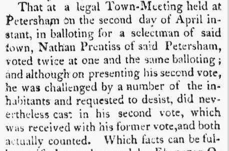 Nathan Prentiss voting challenge, Berkshire Reporter newspaper article 9 May 1810