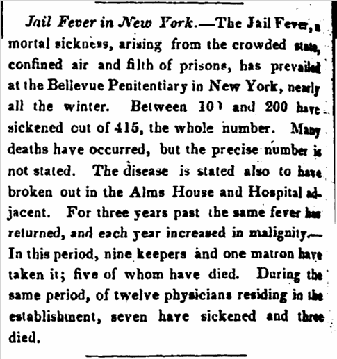 Jail Fever in New York, Boston Traveler newspaper article 22 April 1828