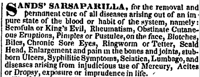 Sands' Sarsaparilla, Charleston Courier newspaper advertisement 19 February 1849