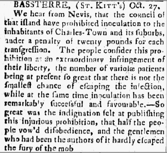 smallpox innoculation in Nevis, Connecticut Journal newspaper article 31 December 1773