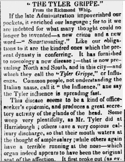 The Tyler Grippe, Constitution newspaper article 9 August 1843