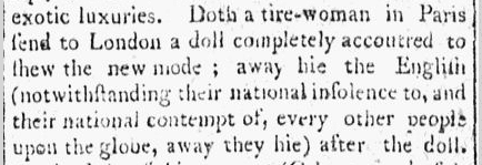 story on fashion and dress making, Daily Advertiser newspaper article 26 June 1801