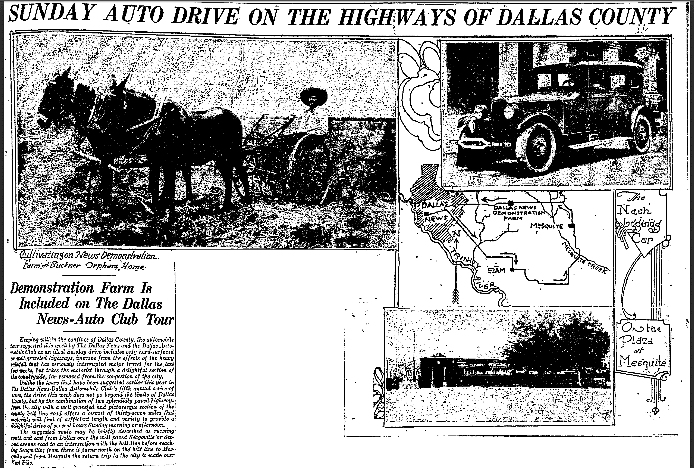 Sunday Auto Drive on the Highways of Dallas County, Dallas Morning News newspaper article 17 May 1925
