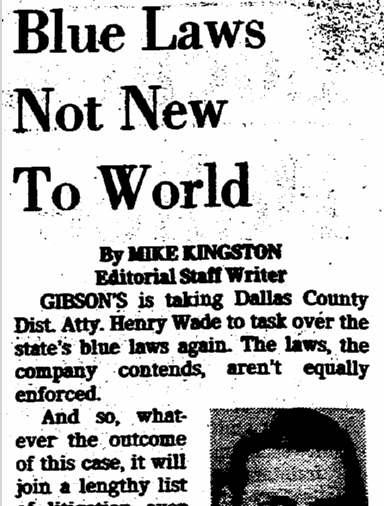 Blue Laws Not New to World, Dallas Morning News newspaper article 18 December 1978