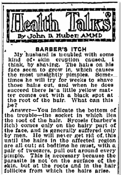 Health Talks--Barber's Itch, Evening News newspaper article 14 January 1922