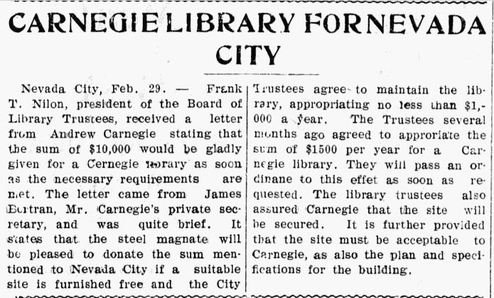 Carnegie Library for Nevada City, Evening News newspaper article 29 February 1904