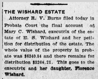 The Wishard Estate, Evening News newspaper article 5 December 1911