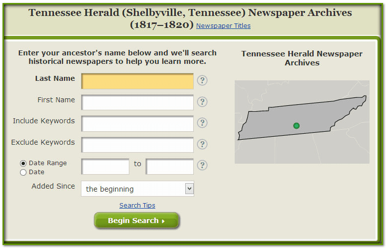 GenealogyBank search form for the Tennessee Herald newspaper