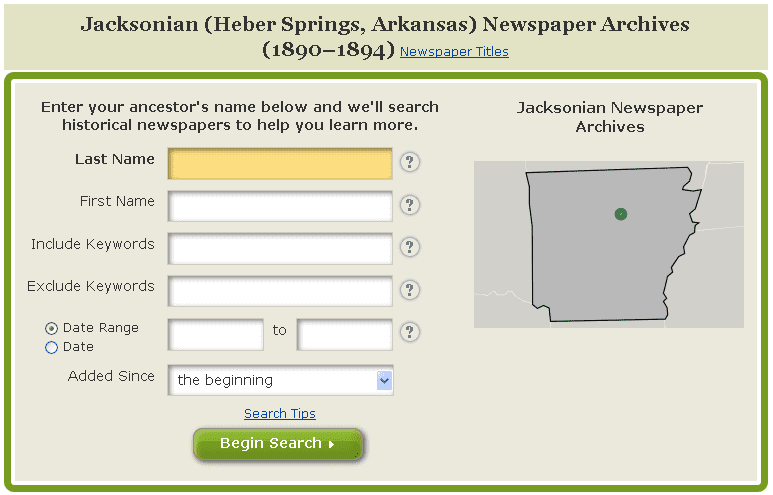 "GenealogyBank search form for the ""Jacksonian"" newspaper"