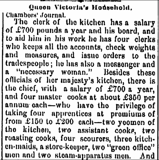 Queen Victoria's Household, Jackson Citizen Patriot newspaper article 11 April 1882