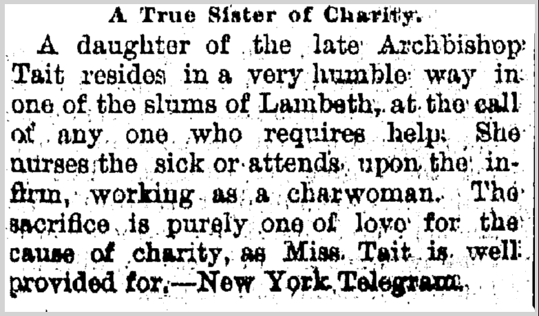 A True Sister of Charity, Jackson Citizen Patriot newspaper article 15 August 1890