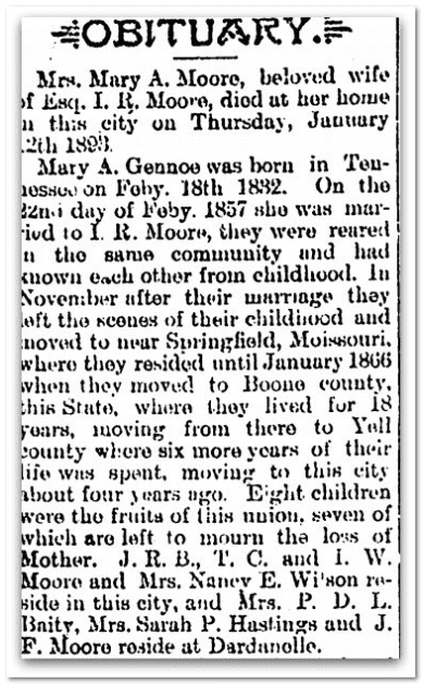 obituary for Mary Moore, Jacksonian newspaper article 19 January 1893