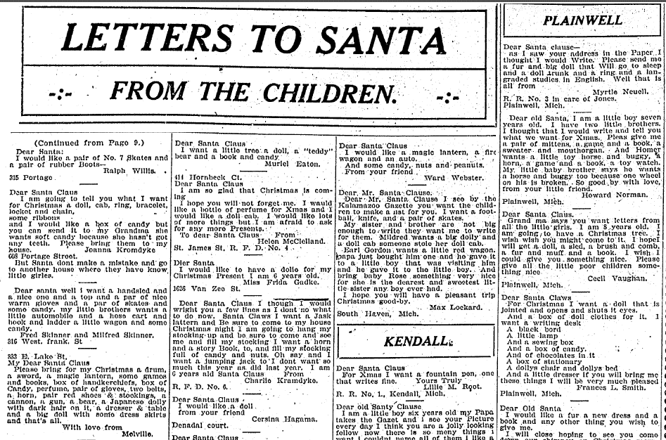 Letters to Santa from the Children, Kalamazoo Gazette newspaper article 16 December 1906