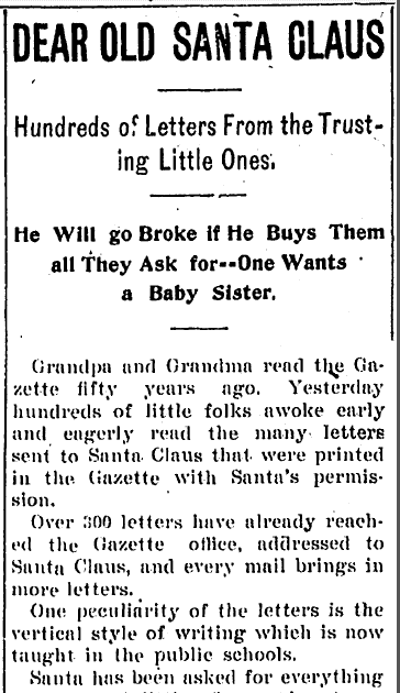 Dear Old Santa Claus, Kalamazoo Gazette newspaper article 21 December 1899