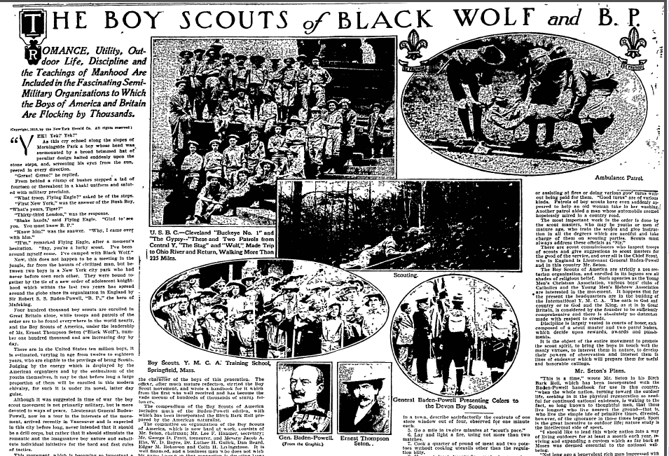The Boy Scouts of Black Wolf and B.P., Lexington Herald newspaper article 25 September 1910