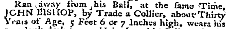 John Bishop, collier, Maryland Gazette newspaper article 4 January 1770