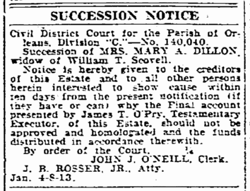 succession notice for Mary Dillon, New Orleans States newspaper article 8 January 1922