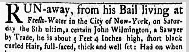 John Wilmington, sawyer, New-York Gazette, and Weekly Mercury newspaper notice 8 January 1770
