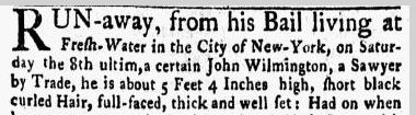John Wilmington, sawyer, New-York Gazette, and Weekly Mercury newspaper notice 8 January 1770