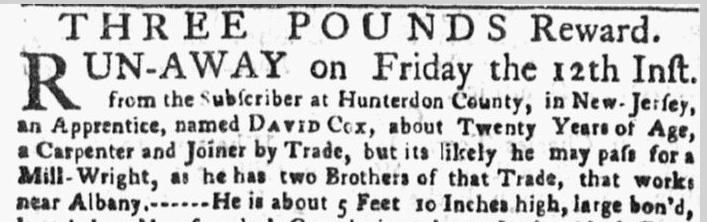 Three Pounds Reward, New-York Gazette, or Weekly Post-Boy newspaper notice 29 January 1770