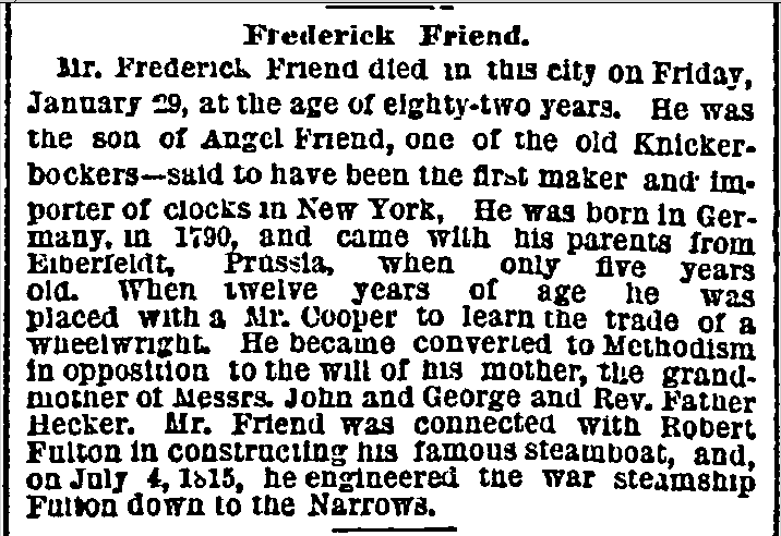 Frederick Friend obituary, New York Herald newspaper death notice 31 January 1872