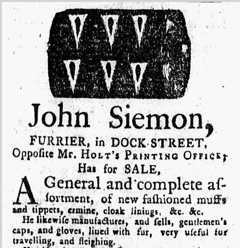 John Siemon, furrier, New-York Journal newspaper ad 9 December 1773