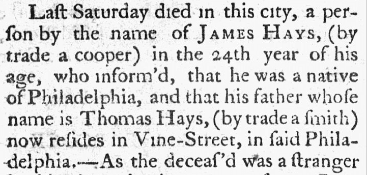 James Hays obituary, Norwich Packet newspaper death notice 13 July 1786