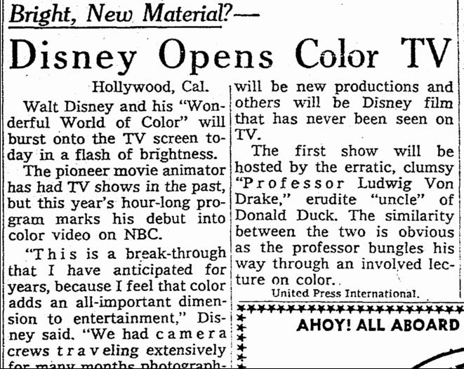 Disney Opens Color TV, Omaha World Herald newspaper article 24 September 1961