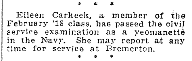 notice about Eileen Carkeek becoming a yeomanette, Oregonian newspaper article 3 March 1918