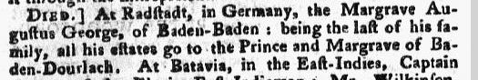Margrave Augustus George obituary, Pennsylvania Chronicle newspaper death notice 3-10 February 1772