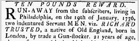 Ten Pounds Reward, Pennsylvania Ledger newspaper notice 9 March 1776