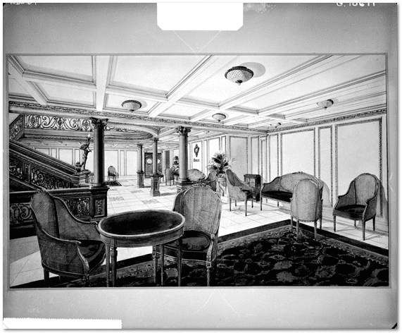 photo of the first class reception room on the Titanic